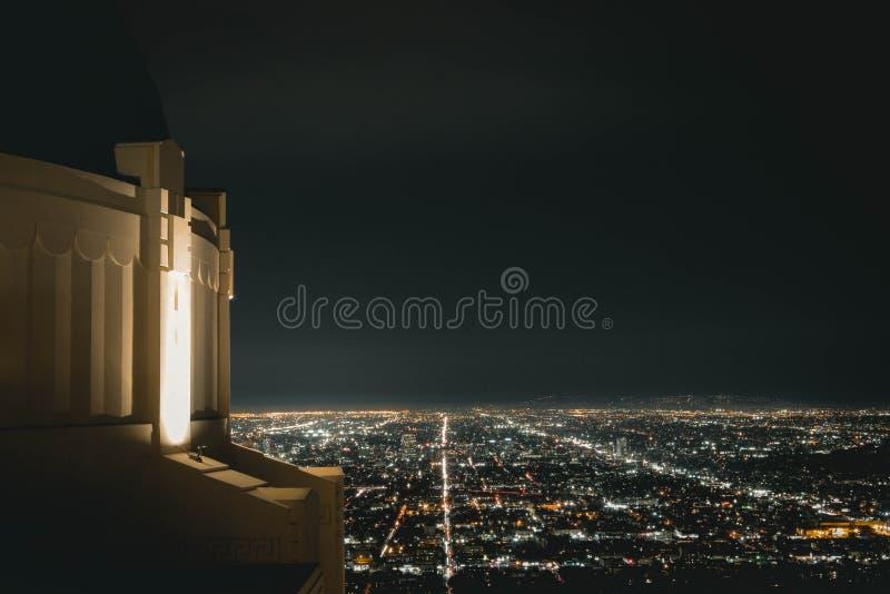 Griffith Observatory bij Nacht stock afbeelding