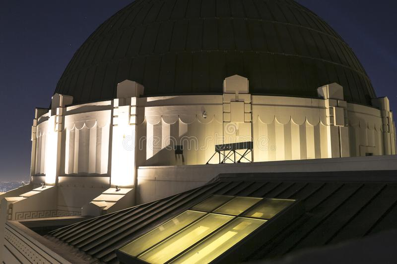 Griffith Observatory bij nacht in Los Angeles royalty-vrije stock afbeelding
