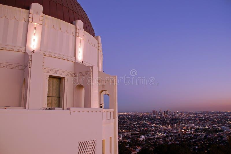 Griffith Observatory bij schemer royalty-vrije stock afbeelding