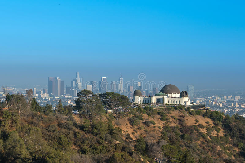 Griffith Observatory and downtown Los Angeles in CA royalty free stock images