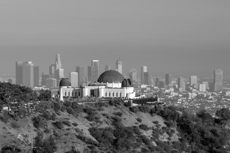 Griffith Observatory e Los Angeles del centro in CA immagine stock libera da diritti