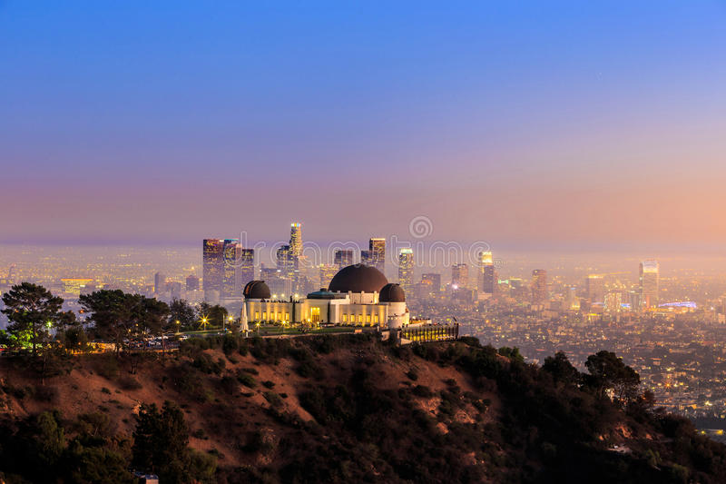 The Griffith Observatory and Los Angeles city skyline royalty free stock photo