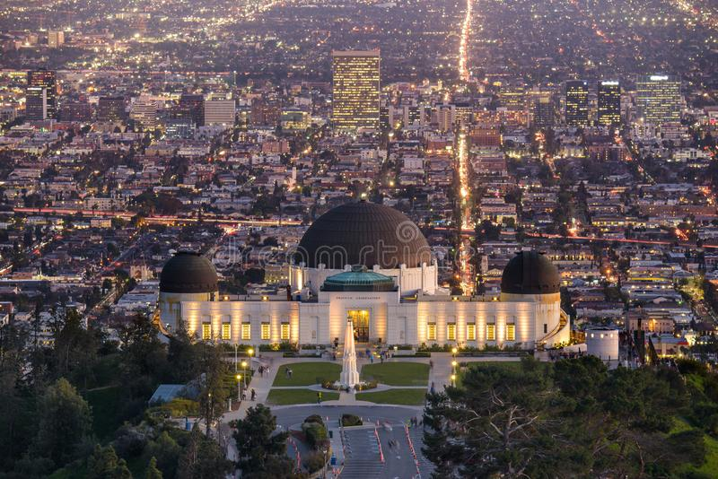 Griffith Observatory and Los Angeles at night royalty free stock photography