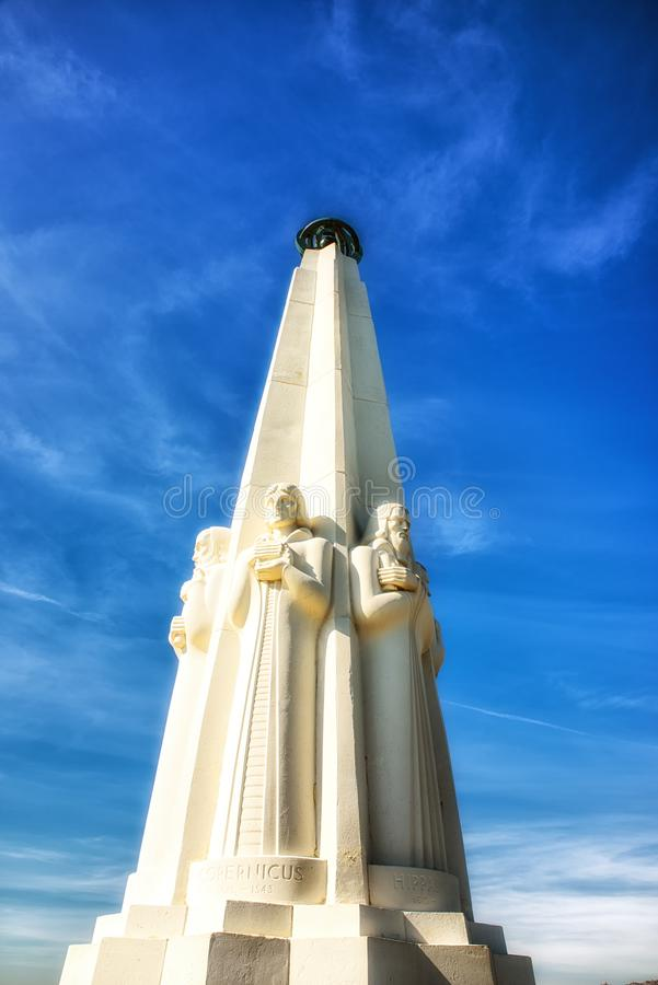 Griffith Observatory Monument degli astronomi a Los Angeles Cali fotografia stock libera da diritti