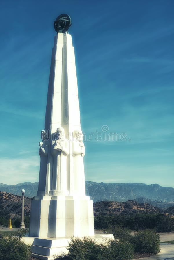 Griffith Observatory Monument van Astronomen in Los Angeles Cali royalty-vrije stock afbeelding