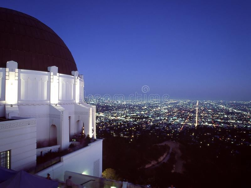 Griffith Observatory at night stock photography