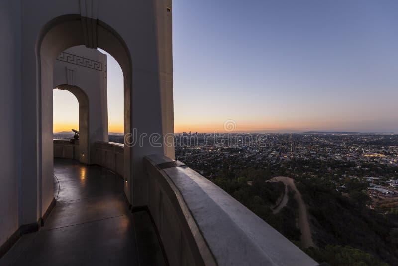 Griffith Observatory Sunrise Cityscape immagine stock