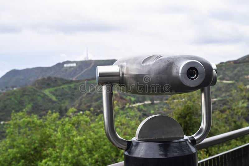 Griffith Park, Los Angeles - telescopio monoculare immagine stock