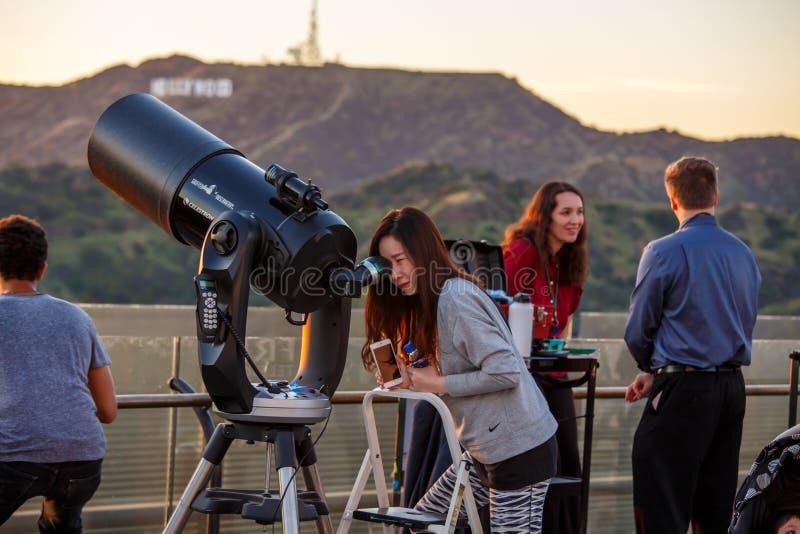 Griffith Park observatorium fotografering för bildbyråer