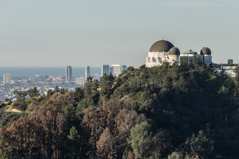 Griffith Park Observatory and Century City royalty free stock photography