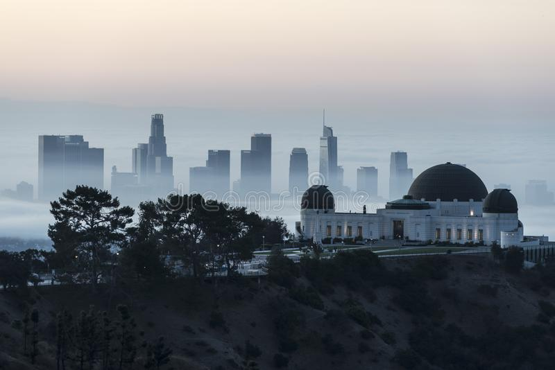 Griffith Park Observatory and Downtown Los Angeles Foggy Morning zdjęcia stock