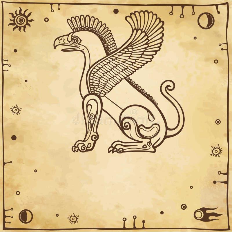 Griffon à ailes fantastique Vue de profil illustration libre de droits
