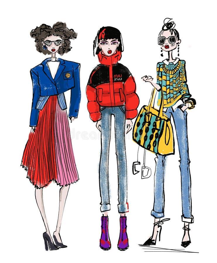 Griffonnage à la mode de croquis de fille illustration libre de droits