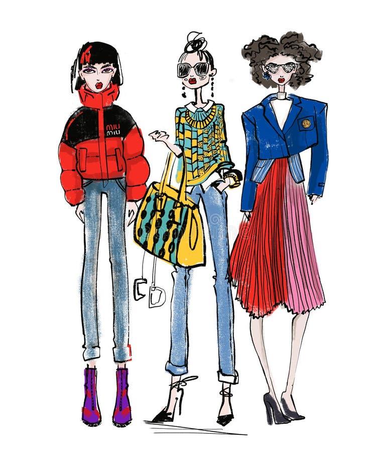 Griffonnage à la mode de croquis de fille illustration de vecteur