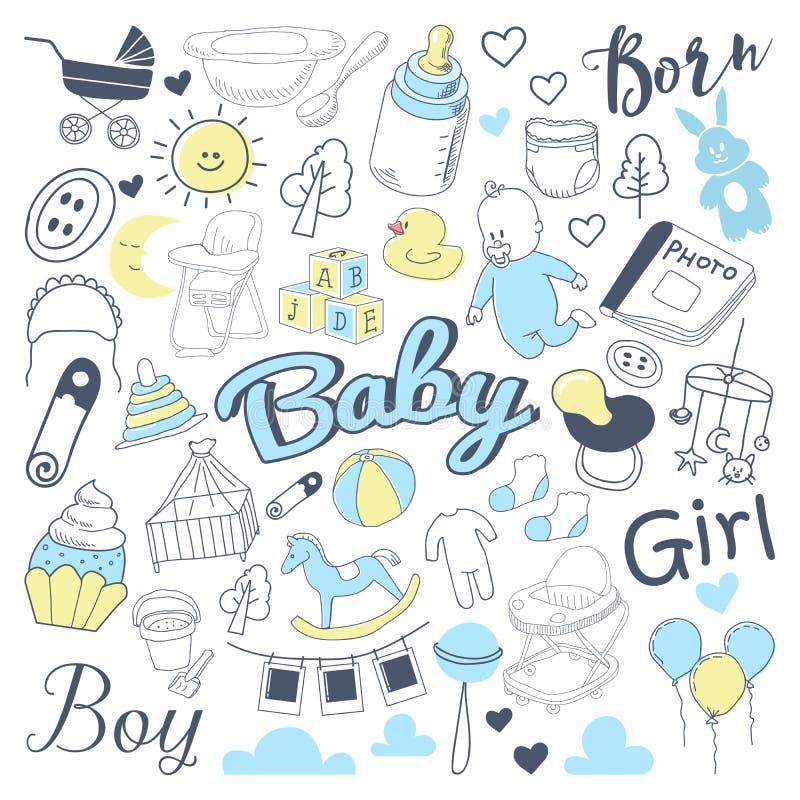Griffonnage à main levée de fête de naissance Ensemble d'éléments tiré par la main nouveau-né avec le garçon et la fille illustration de vecteur
