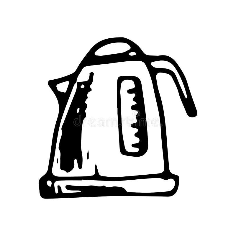 Griffonnage électrique tiré par la main de bouilloire Icône de style de croquis Élément de décoration D'isolement sur le fond bla illustration stock