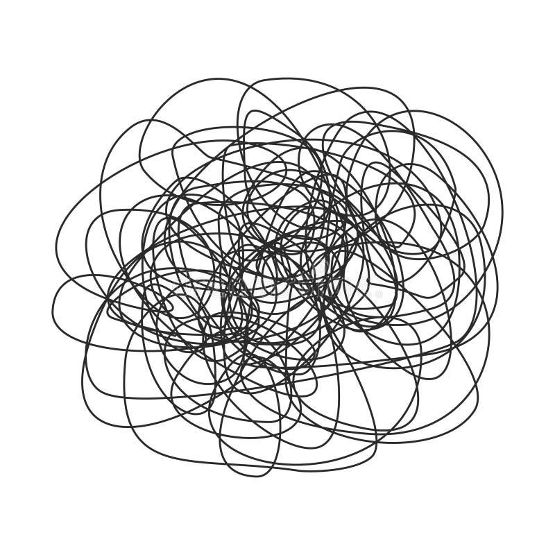 Griffonnage abstrait, croquis tiré par la main de gribouillage, modèle de griffonnage de chaos d'isolement sur le fond blanc illustration stock