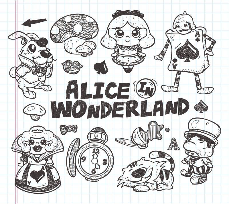 Griffonnage Alice dans l'élément du pays des merveilles illustration stock