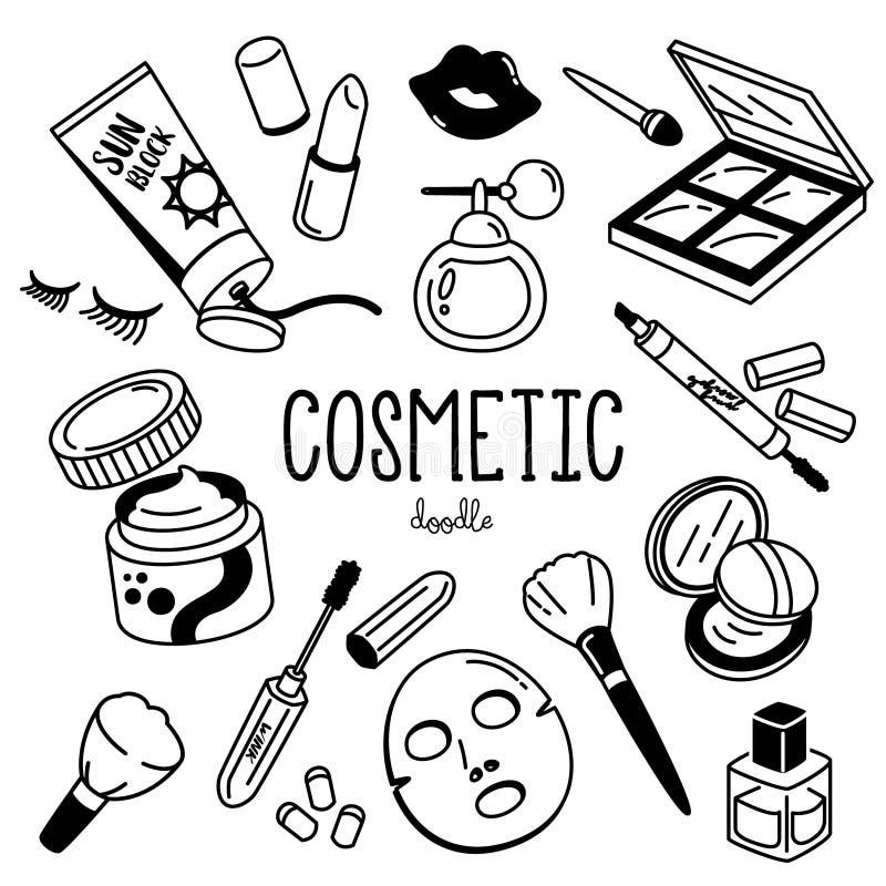 Griffonnage cosmétique Styles de dessin de main pour les articles cosmétiques illustration stock
