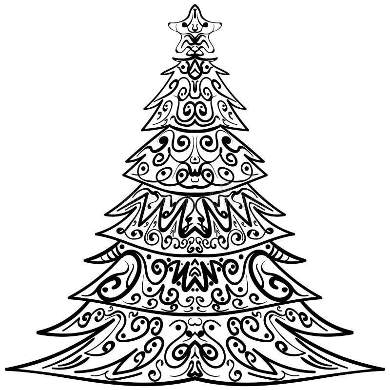 Griffonnage décoratif d'arbre de Noël de Zentangle illustration de vecteur
