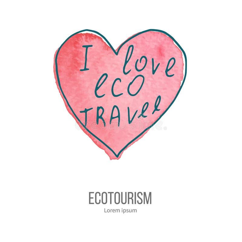 Griffonnage d'éco-tourisme de vecteur sur la texture d'aquarelle illustration libre de droits