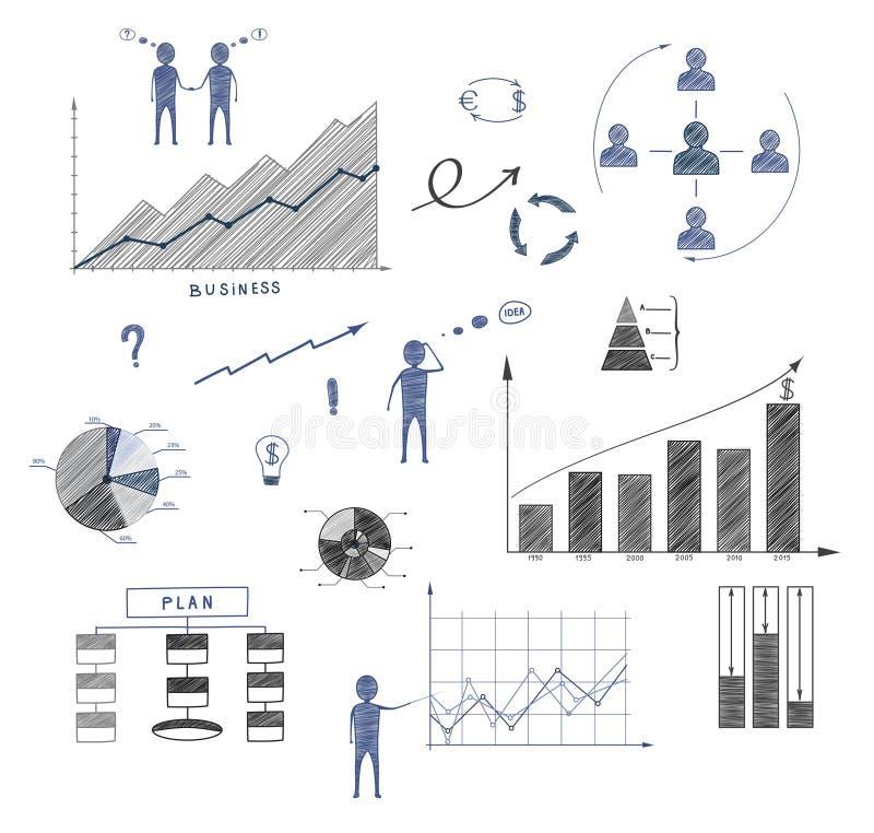 Griffonnage d'affaires, éléments d'infographics, plan d'action, financ illustration de vecteur