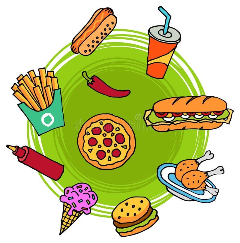 Griffonnage d'aliments de préparation rapide illustration libre de droits
