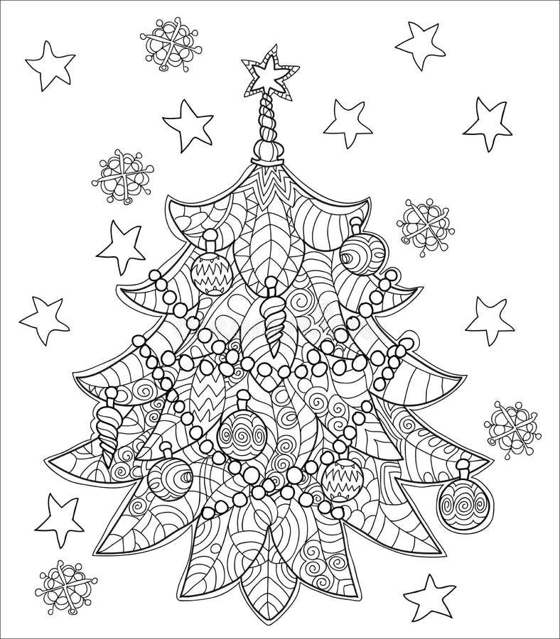 Griffonnage d'arbre de sapin de zentangle de Joyeux Noël illustration libre de droits