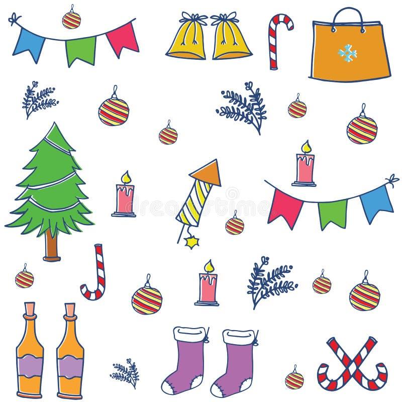 Griffonnage d'ensemble de couleur de Noël illustration stock