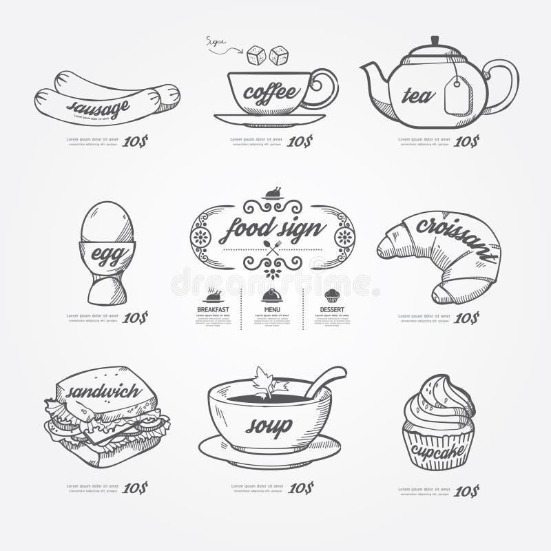 Griffonnage d'icônes de menu dessiné sur le fond de tableau Vintage de vecteur illustration de vecteur