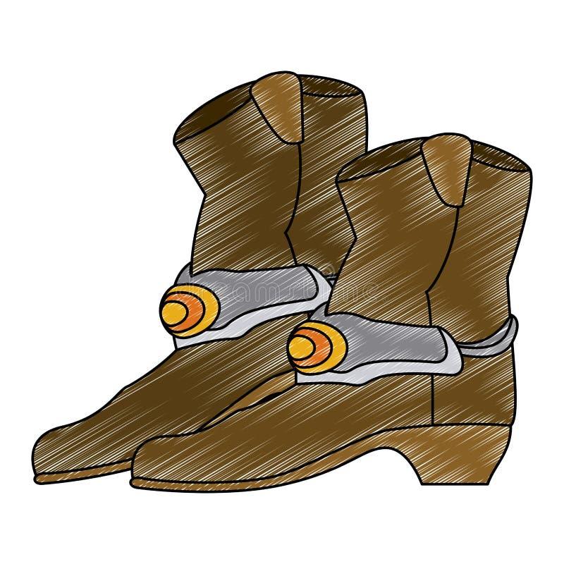 Griffonnage d'isolement de bottes de cowboy illustration stock