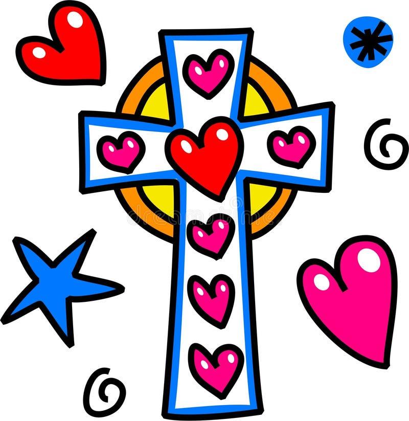 Griffonnage de bande dessinée de croix de Pâques illustration stock
