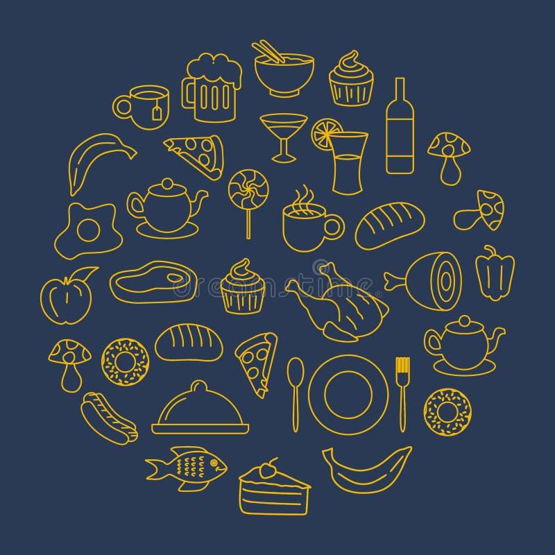 Griffonnage de cercle de fond d'illustration de vecteur de dessin de nourriture et de boisson illustration stock