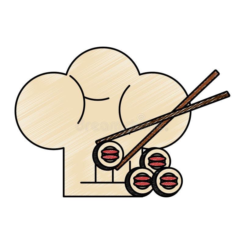 Griffonnage de chapeau de sushi et de chef illustration libre de droits