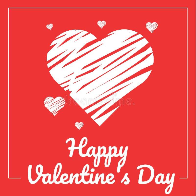 Griffonnage de coeur sur le fond rouge Carte du `s de Valentine illustration de vecteur
