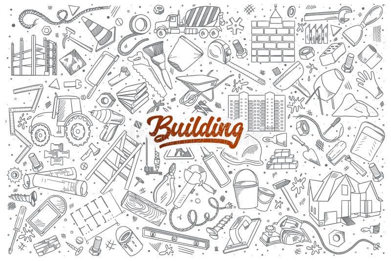 Griffonnage de construction réglé avec le lettrage rouge illustration libre de droits
