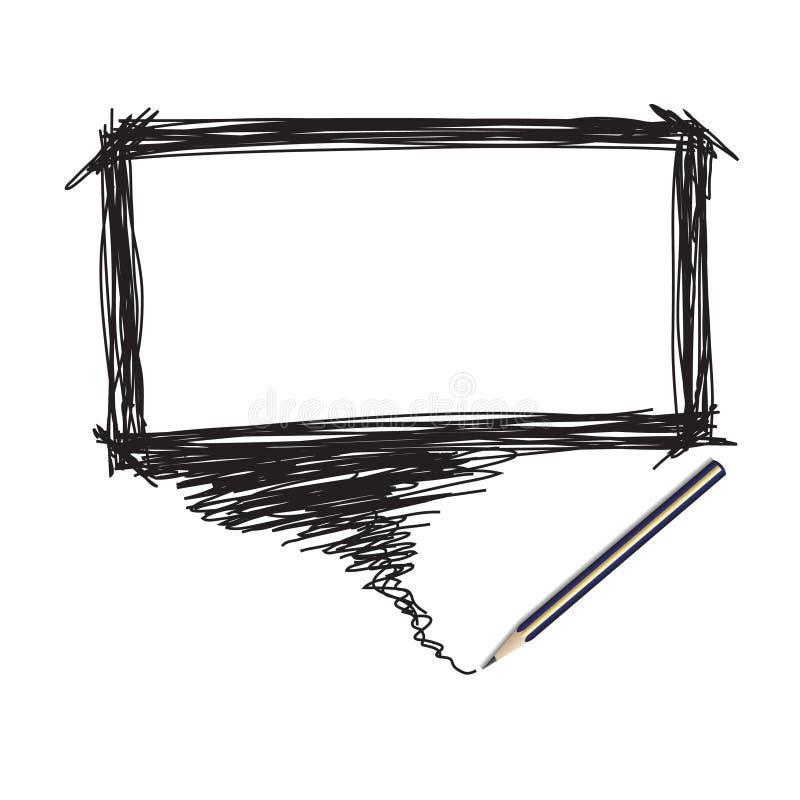 Griffonnage de crayon avec la bulle de mot illustration de vecteur