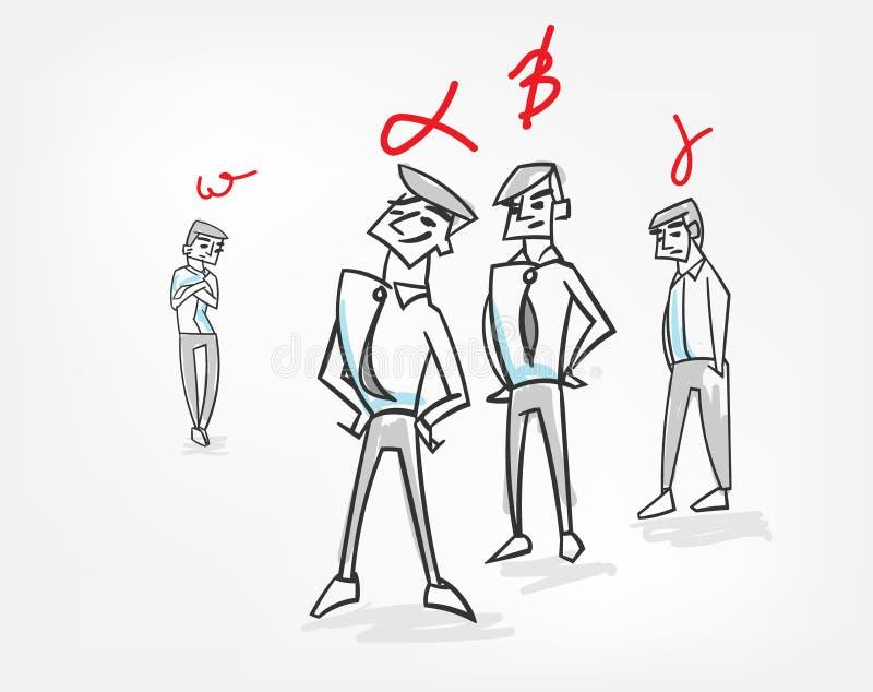 Griffonnage de croquis d'illustration de vecteur de travail d'équipe de concept de psychologie de hiérarchie de groupe illustration de vecteur
