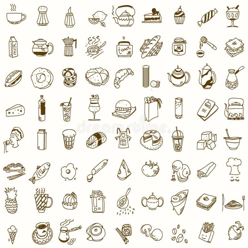 Griffonnage de cuisine de déjeuner ou de dîner de petit déjeuner de matin illustration de vecteur