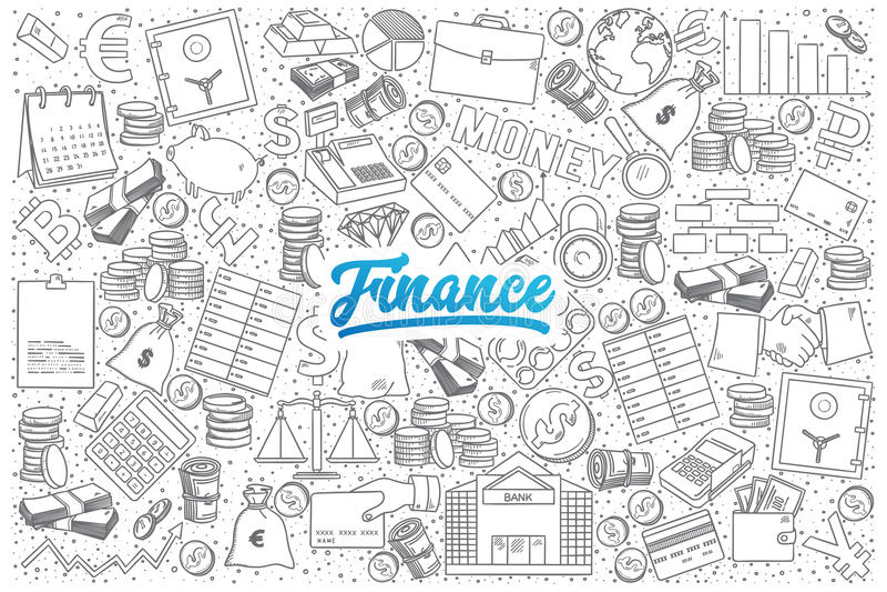 Griffonnage de finances réglé avec le lettrage bleu illustration de vecteur