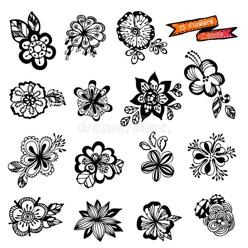 Griffonnage de fleurs illustration stock