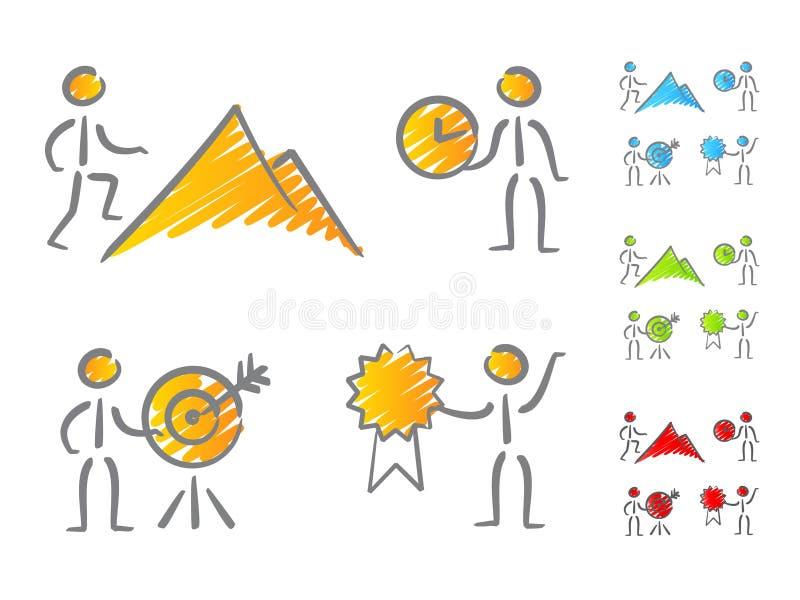 Griffonnage de graphismes d'accomplissements de gens illustration stock