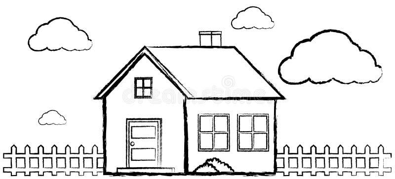 Griffonnage De Maison Simple Sans Couleur Illustration De