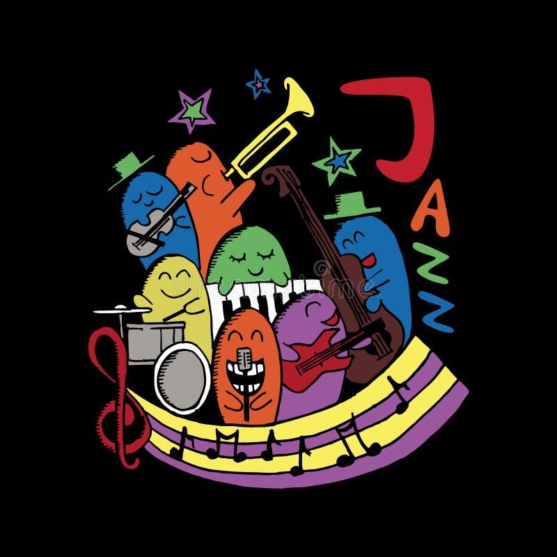 Griffonnage de monstre de musique de jazz Festival de musique heureux de vacances d'illustration colorée de vecteur illustration stock