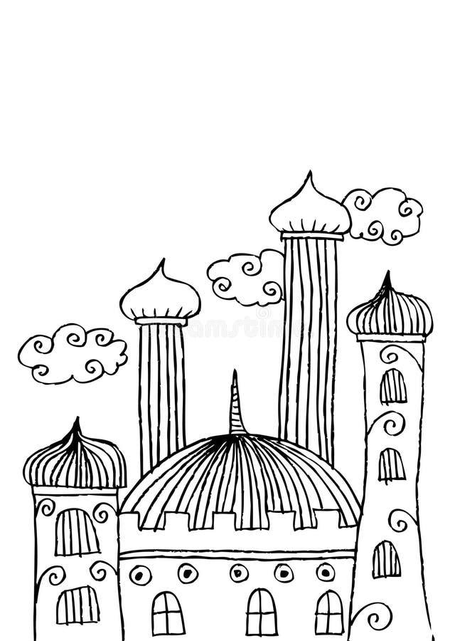 Griffonnage de mosquée illustration stock