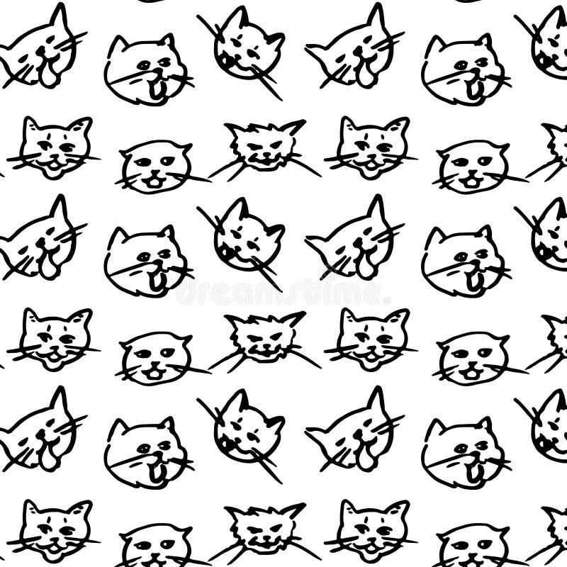 Griffonnage de papier peint de r?p?tition de fond d'isolement par ?charpe sans couture de vecteur de chaton de mod?le de chat image stock