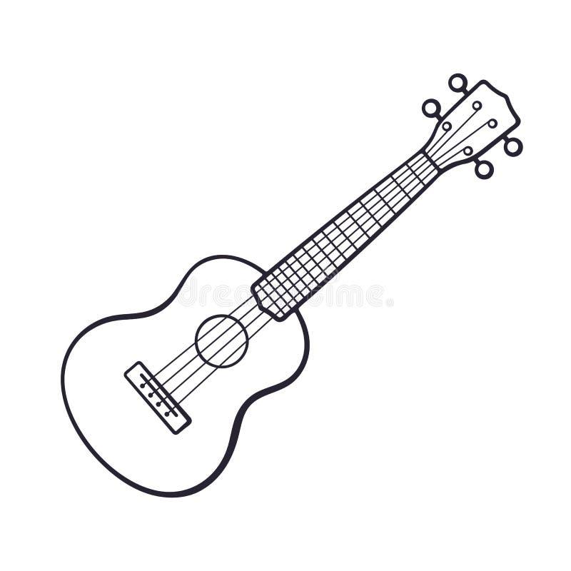Griffonnage de petite guitare classique illustration stock