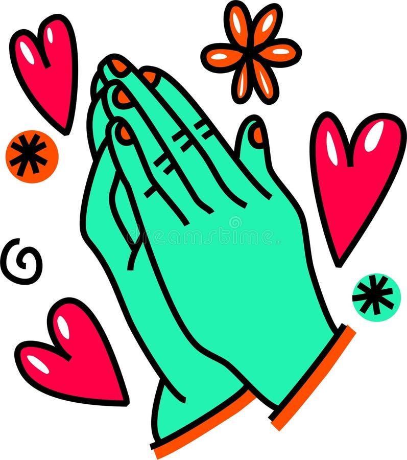 Griffonnage de prière de bande dessinée de mains illustration stock