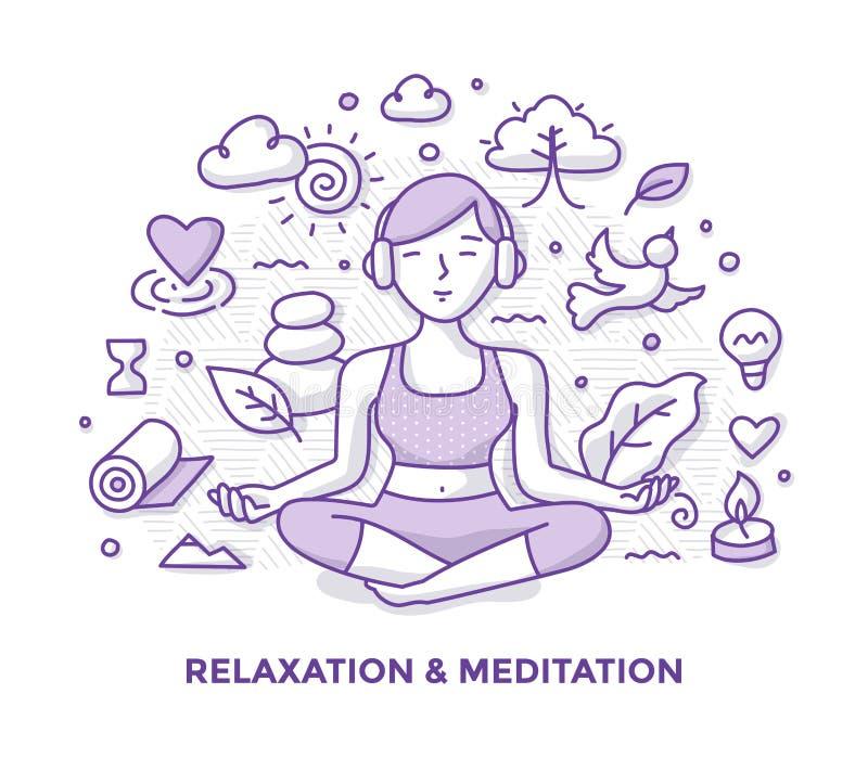 Griffonnage de relaxation et de méditation illustration de vecteur