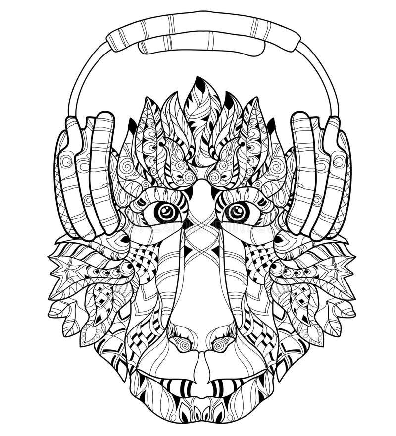 Griffonnage de tête de singe de Zentangle Vecteur tiré par la main illustration libre de droits